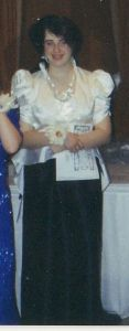 Spring 1993, the final dinner was a formal dinner.  This was my junior prom dress.  It didn't fit me anymore, we couldn't zip it up.  According to a friend after the dinner, I was showing all sorts of cleavage that night.  Eeps.