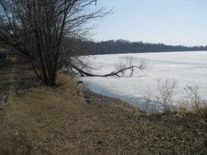 the lake is still frozen, though the ice is now too thin to walk on