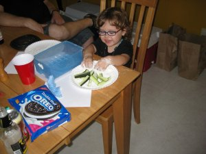 Zoe helps with zucchini fries