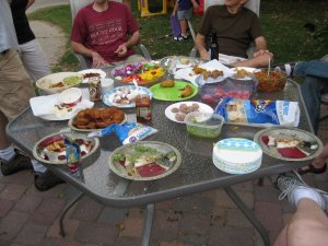 table of friedness.  Just before we left for the evening.