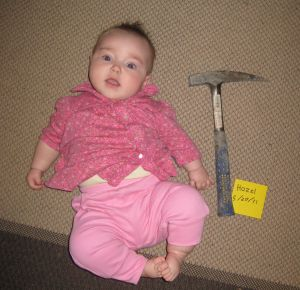 picture of baby with rock hammer for scale